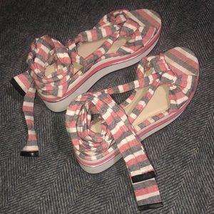 Zara Tie-Up Platform Sandals